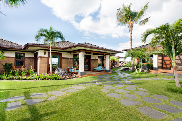 Norelco Exterior Tropical with Blue Seat Cushions Boulders Covered Porch Flagstone Path Palm