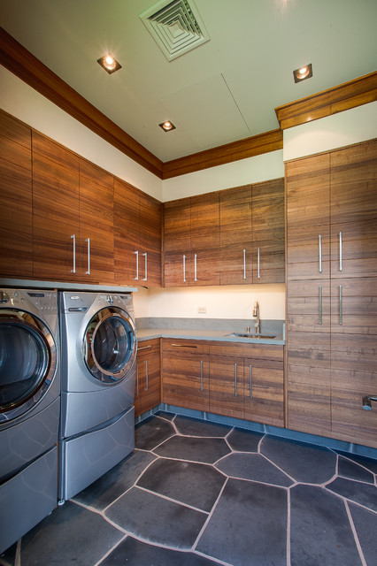 Norelco Laundry Room Tropical with Crown Molding Flagstone Floor Flush Cabinets Gray Counter Recessed
