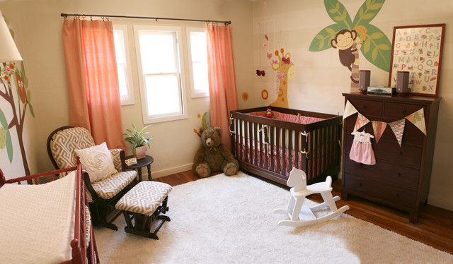 Nursery Glider Nursery Contemporary with Area Rug Bunting Chest of Drawers Curtains Dark Wood
