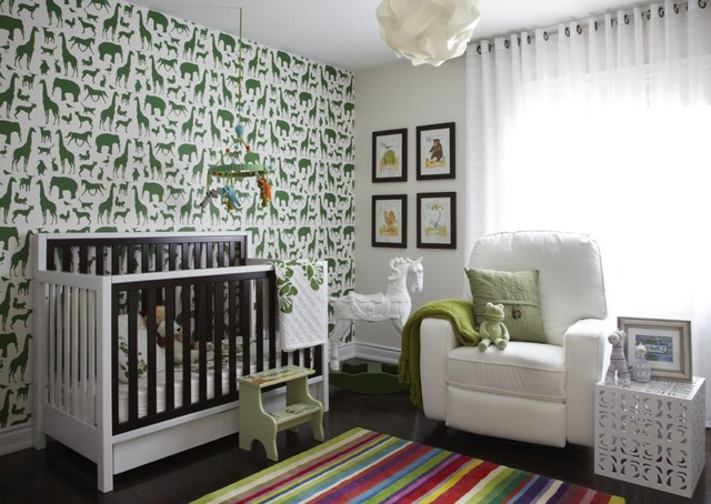 Nursery Glider Recliner Nursery Contemporary with Accent Wall Animal Wallpaper Changing Table Chest of Drawers