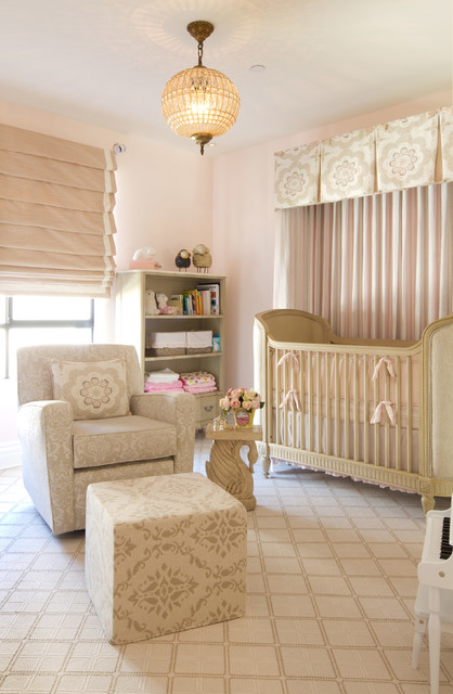 nursery glider recliner Nursery Transitional with baby changing table crib dusty pink French girl glider