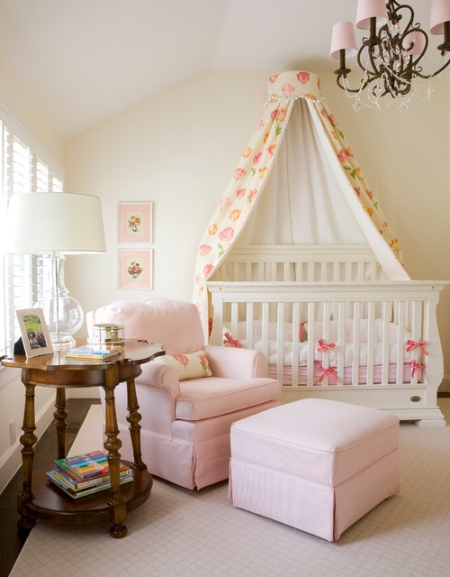 Nursery Recliner Nursery Traditional with Antique Canopy Chandelier Framed Artwork Girls Nursery Pink Armchair