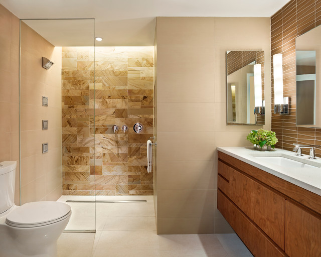 Oatey Shower Drain Bathroom Contemporary with Beige Cabinets Floating Vanity Glass Shower Wall Hanging Vanity