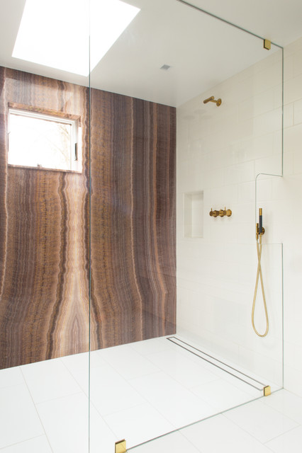 Oatey Shower Drain Bathroom Contemporary with Book Matched Marble Glass Low Maintenance Marble Organic Serene