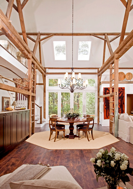 Octagon Rugs Dining Room Farmhouse with Beige Octagonal Area Rug Built in Wooden Ladders Exposed