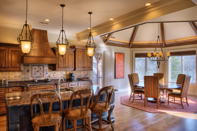 Octagon Rugs Kitchen Traditional with Artwork Beams Carved Wood Counter Stools Cove Lighting Crown