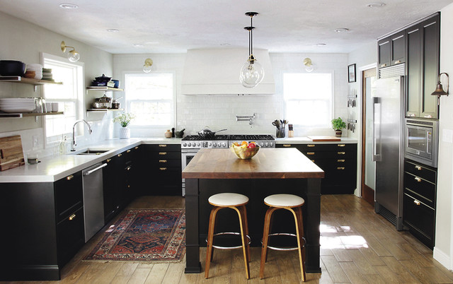 Octagon Rugs Kitchen Transitional with Area Arug Bar Stools Black White Kitchen Glass Pendant
