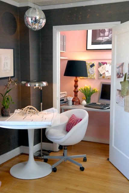 Office Cubicle Decor Home Office Eclectic with Baseboards Chair Closet Office Dark Walls Disco Ball Floor