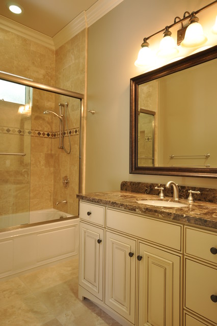 Oil Rubbed Bronze Faucet Bathroom Traditional with Bathroom Mirror Crown Molding Glass Shower Door Neutral Colors