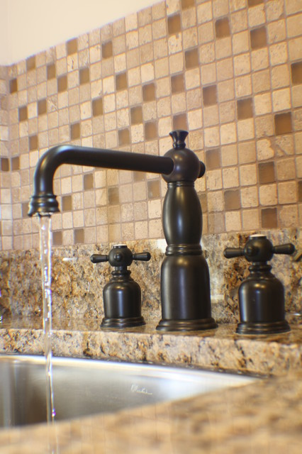 Oil Rubbed Bronze Faucet Powder Room Contemporary with Backsplash Brown Cabinet Cecelia Cherry Faucet Glass Tile Granite