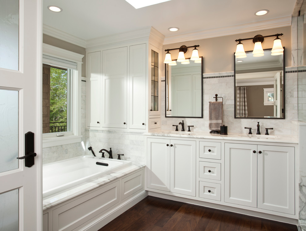 Oil Rubbed Bronze Kitchen Faucet Bathroom Traditional With Recessed Lighting Rectangular Mirror Tri Sconce Two
