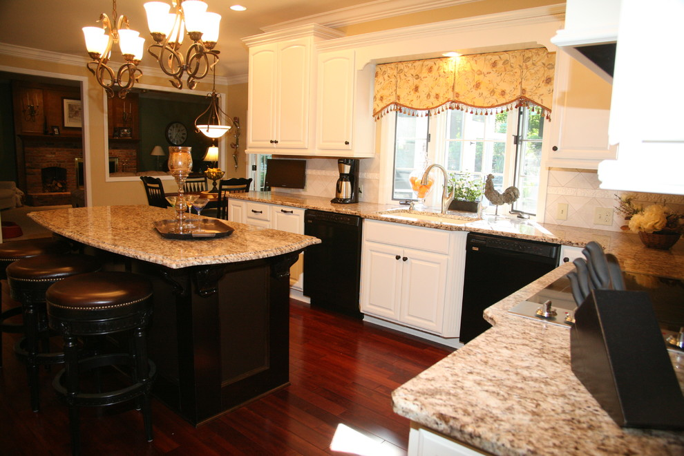 Oil Rubbed Bronze Kitchen Faucet Kitchen Traditional With Barstools Black  Appliances Contrast Granite Hardwood Flooring
