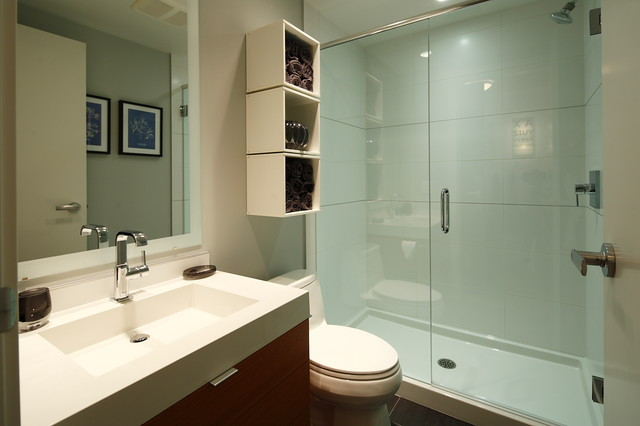 One Piece Shower Stall Bathroom Contemporary with Bathroom Storage Beige Tile Shower Beige Wall Box Shelving