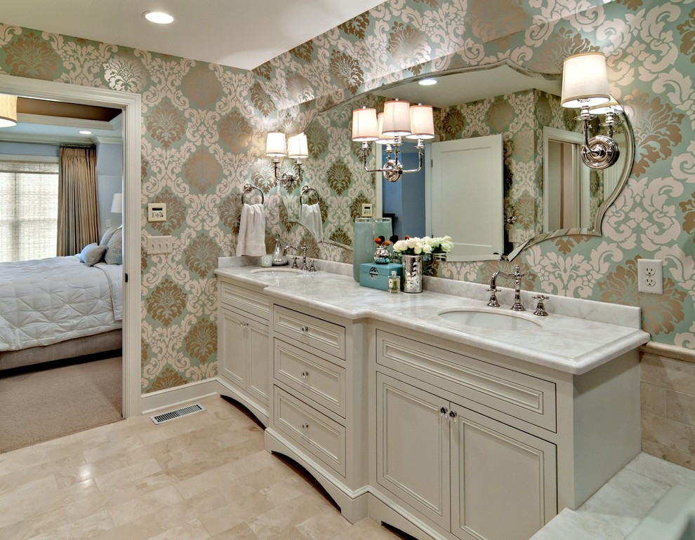 Onyx Countertops Bathroom Traditional with Cream Blue and White Damask Wallpaper Double