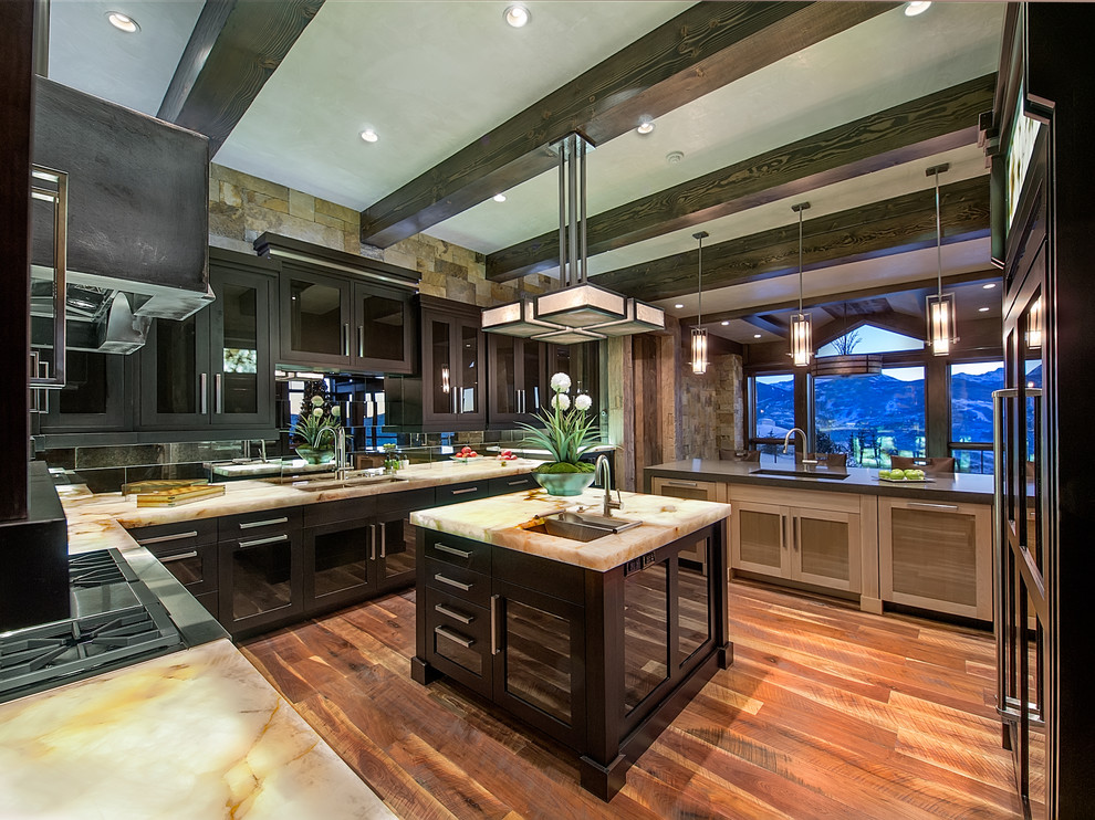 Onyx Countertops Kitchen Contemporary with Appliances Cabinetry Center Island Countertops Dark Wood