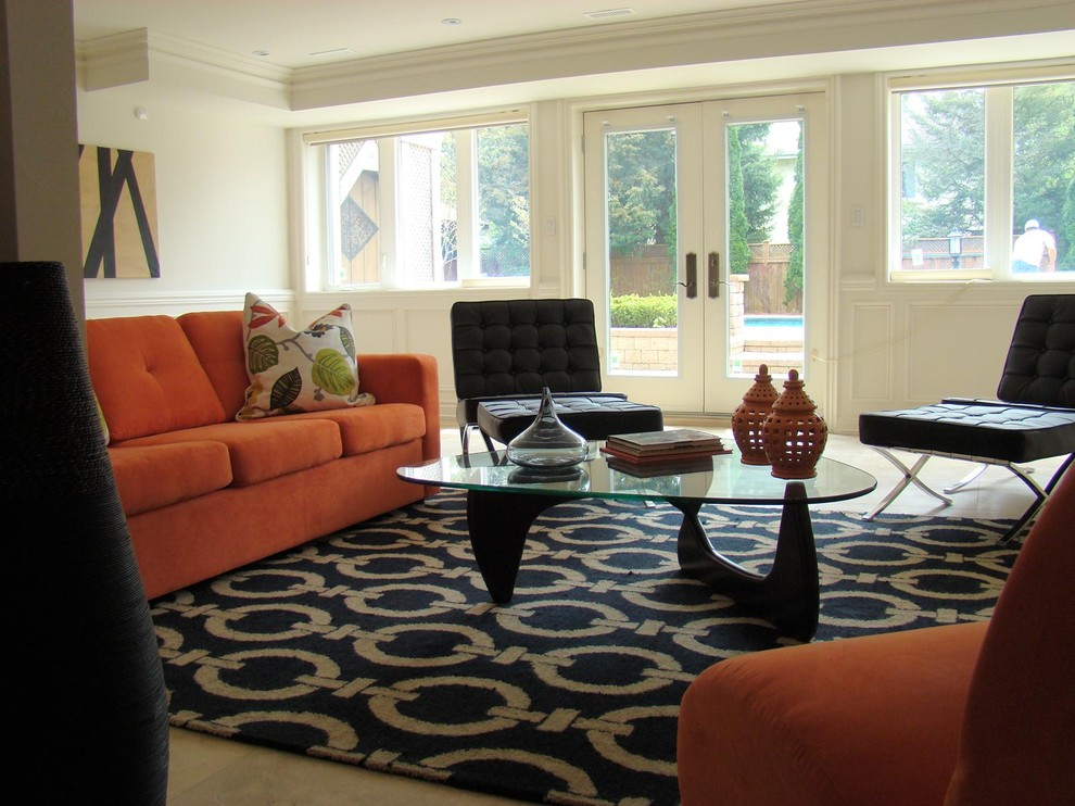 Orange Shag Rug Living Room Eclectic With Accent Colors