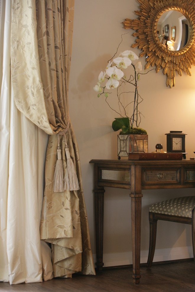 Orchid Arrangements Bedroom Traditional with Baseboards Curtains Dark Floor Drapes Neutral Colors