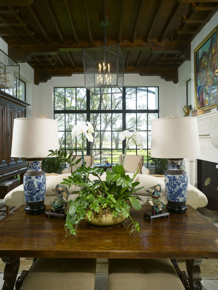 Orchid Arrangements Living Room Mediterranean with Beach House Chinese Chinoiserie Coastal Fireplace Houseplant