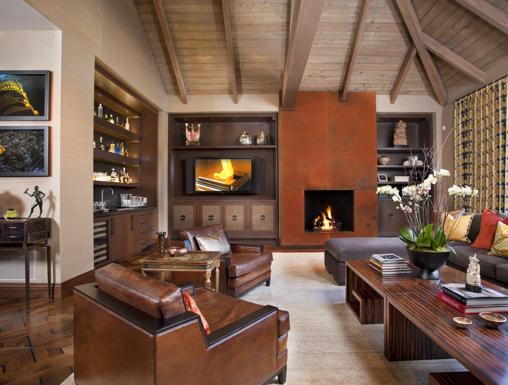 Orchid Arrangements Living Room Modern with Accent Pillows Bookshelves Brown Leather Armchairs Built In