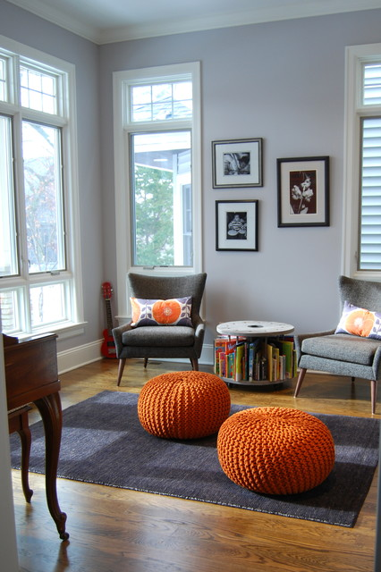 Ottoman Pouf Family Room Transitional with Back Pillows Book Storage Gray Chairs Guitar Hardwood Floor