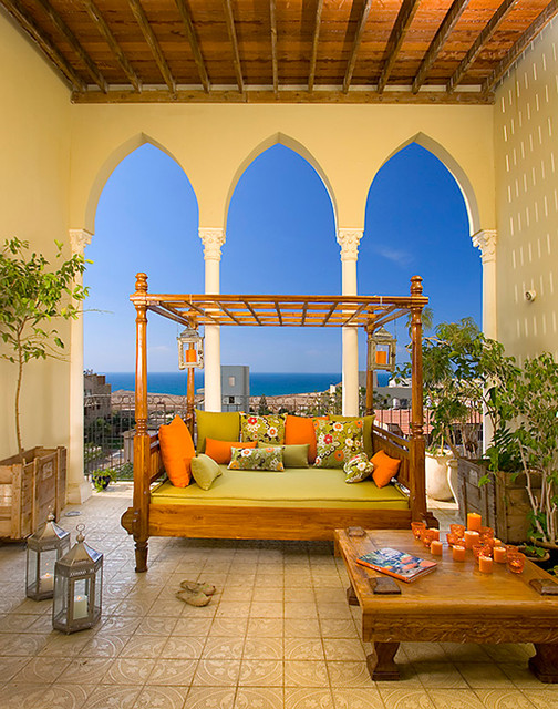 Outdoor Daybed with Canopy Porch Mediterranean with Box Planters Candles Coffee Table Container Plants Daybed Decorative1