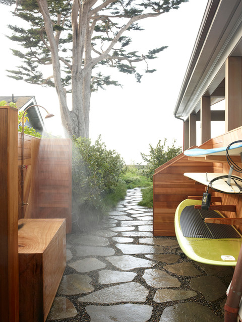 Outdoor Firewood Rack Patio Beach with Backyard Gravel Large Bushes Outdoor Shower Permeable Walkway Poolhouse