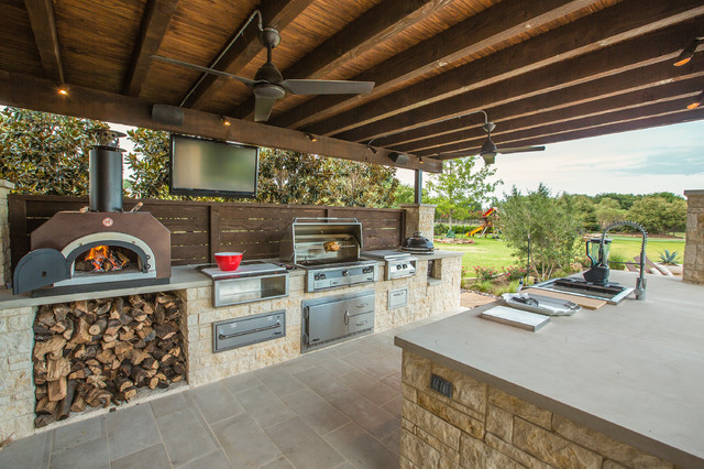 Outdoor Firewood Rack Patio Traditional with Ceiling Fan Earthy Exposed Wooden Beams Feature Wall Fire