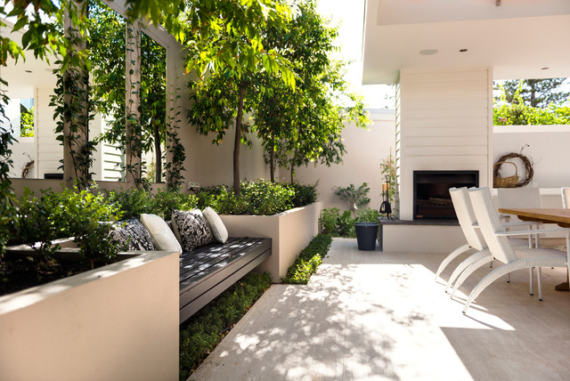 Outdoor Glider Bench Patio Contemporary with Alfresco Benchseat Cladding Clapboard Fireplace Garden Bench Hardscape Outdoor