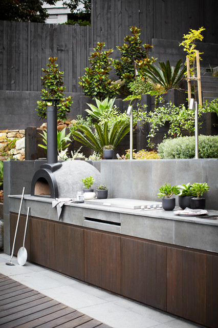 outdoor pizza oven kit Patio Contemporary with BBQ dark wood garden landscape design outdoor dining outdoor