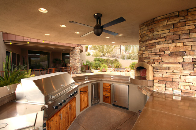 Outdoor Pizza Oven Kit Patio Traditional with Barbeque Bbq Black Ceiling Fan Curved Wall Entertaining Fireplace