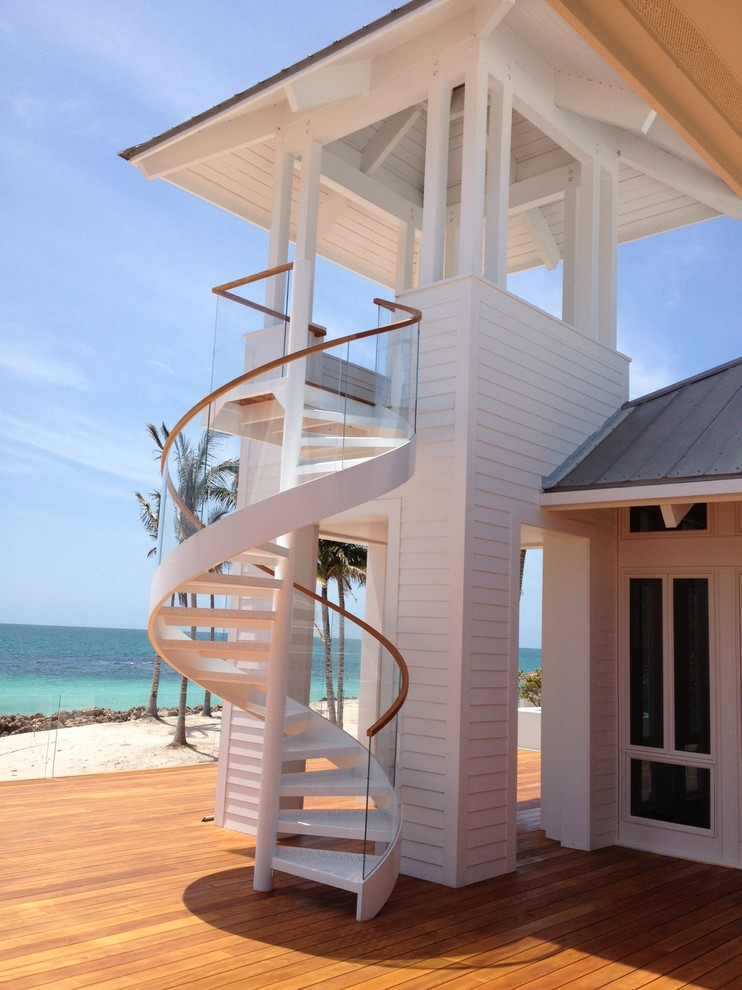 Outdoor Spiral Staircase Staircase Contemporary with Beach Curved Wood Handrail Glass Panel Railing1