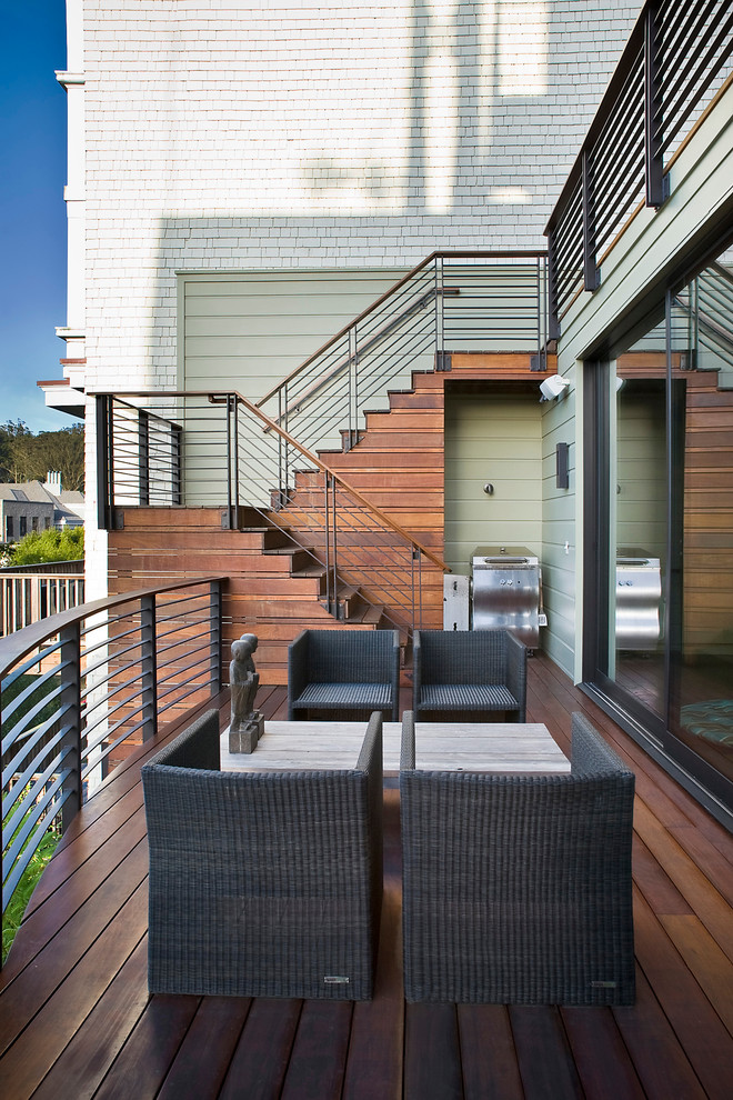 Outdoor Stair Railing Deck Contemporary with Deck Glass Doors Horizontal Slat Fence Metal