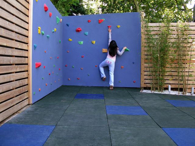 Outside Playsets Kids Contemporary with Bamboo Black Blue Checkerboard Climbing Wall Gray Landscape Lights
