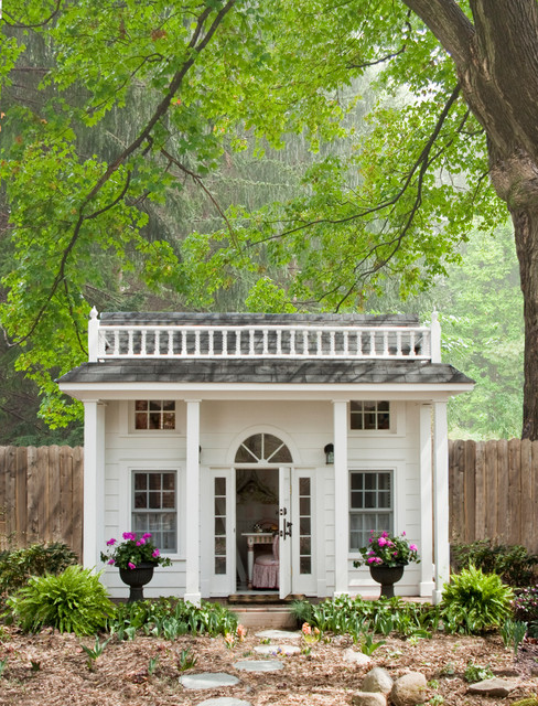 Outside Playsets Kids Traditional with Arched Window Double Hung Windows Gray Roof Grecian Urn