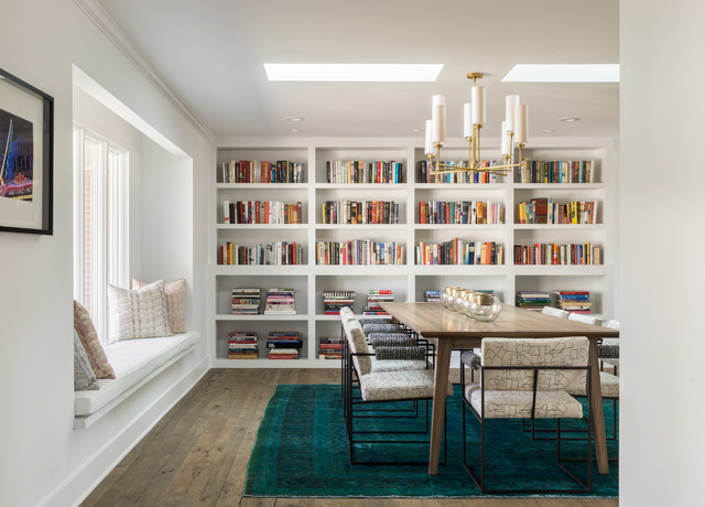 Overdyed Rug Dining Room Contemporary with Bench Seating Bookcases Built in Bookcase Chandelier Midcentury Table