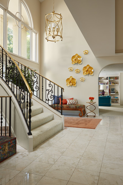 Overdyed Rug Entry Mediterranean with Chandelier Curved Staircase Floral Bench Foyer Orange Rug Overdyed