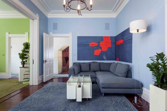 Overdyed Rug Family Room Transitional with Blue Area Rug Chaise Lounge Chandelier Corner Artwork Crown