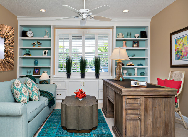 Overdyed Rugs Home Office Beach with Blue Area Rug Blue Sofa Built in Bookcase Ceiling