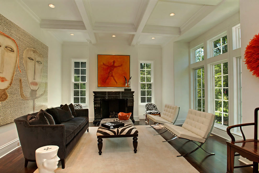 Oversized Chair and Ottoman Living Room Contemporary with Beige Rug Brown Sofa Coffered Ceiling Dark