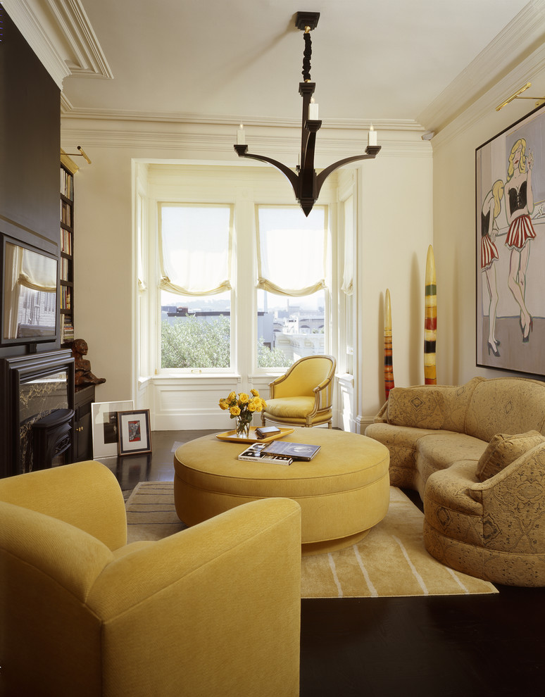 Oversized Chair and Ottoman Living Room Eclectic with Accent Wall Brown Chocolate Eclectic Living Room