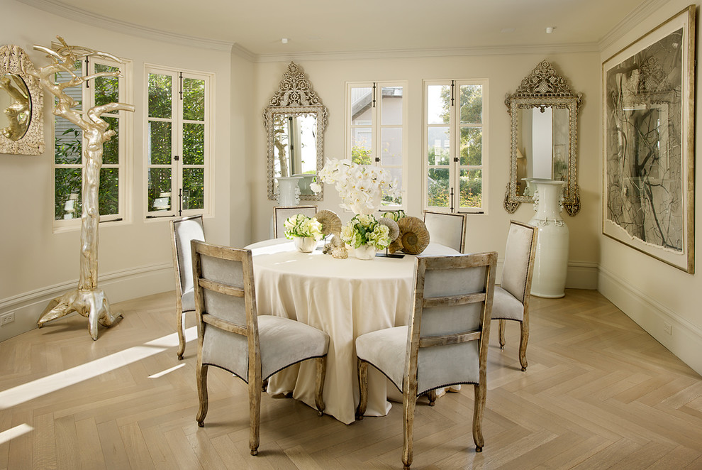 Oversized Floor Mirror Dining Room Shabby Chic with Antiques Baseboard Beige Molding Beige Tablecloth Beige