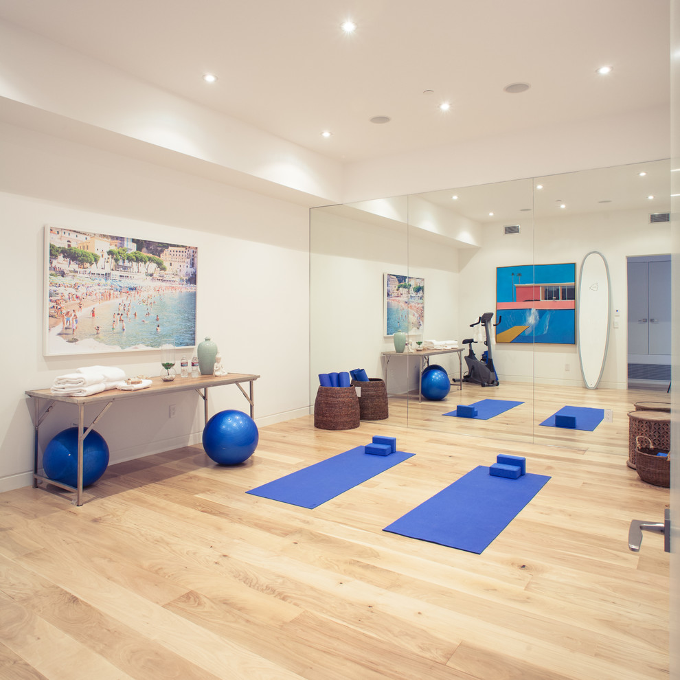 Oversized floor mirror home gym contemporary with architectural