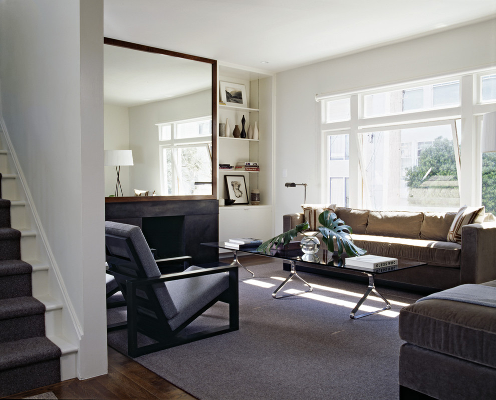 Oversized Floor Mirror Living Room Transitional with Area Rug Awning Windows Bookcase Bookshelves Built