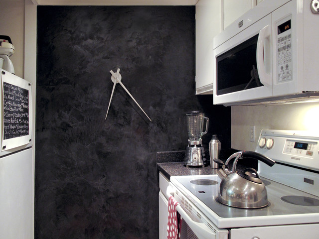 oversized wall clock Kitchen Eclectic with accent wall black and white black wall dark wall