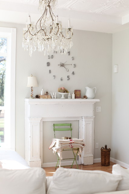 Oversized Wall Clock Living Room Shabby Chic with Ceiling Lighting Ceiling Treatment Chandelier Distressed Furniture Fireplace Mantel