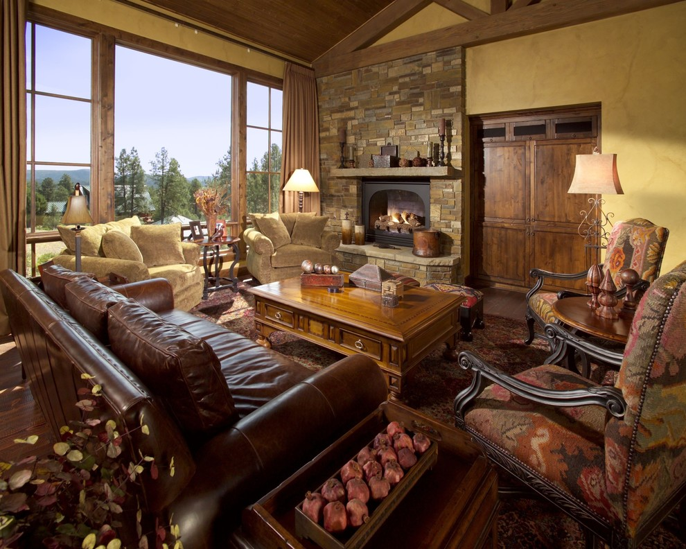 overstuffed-chair-Living-Room-Mediterranean-with-Fireplace-italian ...
