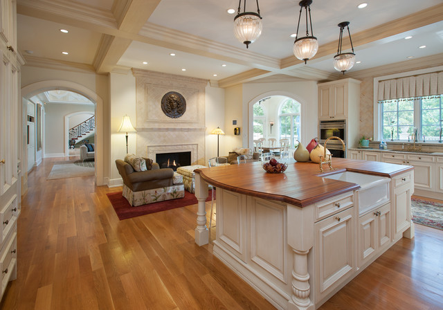 Overstuffed Chairs Kitchen Traditional with Apron Sink Arch Arched Doorway Archway Coffered Ceiling Glass2