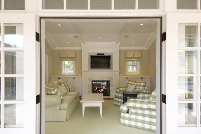 Overstuffed Chairs Living Room Traditional with Cabinets Checks French Doors Gingham Green Light Green Mantle2