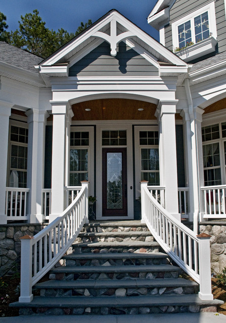 Owens Corning Roof Shingles Entry Traditional with Dormer Windows Front Door Handrail Porch Stairs Steps Stone