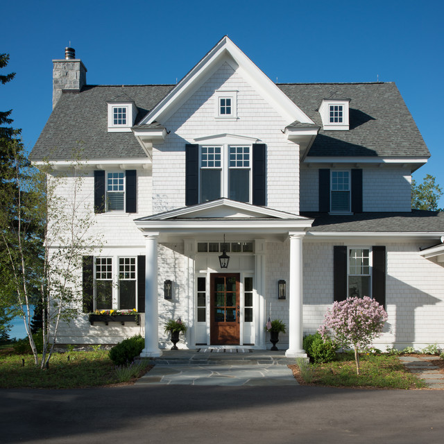 Owens Corning Roof Shingles Exterior Traditional with Black Shutters Light Fixtures by Visual Comfort Panel Siding & owens-corning-roof-shingles-Entry-Traditional-with-dormer-windows ... pezcame.com